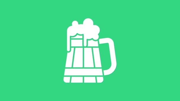 Fehér Fa sörös bögre ikon elszigetelt zöld háttérrel. 4K Videó mozgás grafikus animáció