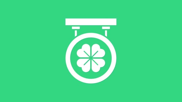 Bílá ulice se čtyřmi listy jetele ikona izolované na zeleném pozadí. Vhodné pro reklamní bar, kavárnu, hospodu. Grafická animace pohybu videa 4K