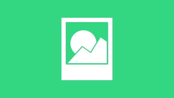 Ikona bílých snímků izolovaných na zeleném pozadí. Grafická animace pohybu videa 4K