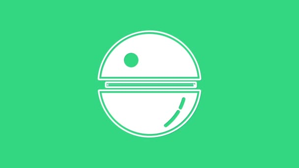 White Death star icon isolated on green background. 4K Video motion graphic animation