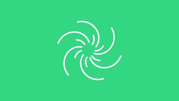Fehér fekete lyuk ikon elszigetelt zöld háttérrel. Űrlyuk. Összeomlik. 4K Videó mozgás grafikus animáció