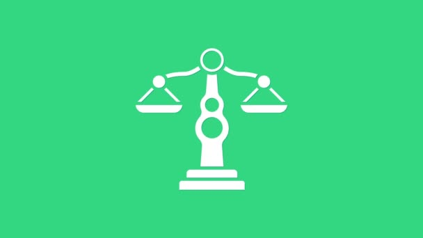 White Scales of justice icon isolated on green background. Court of law symbol. Balance scale sign. 4K Video motion graphic animation