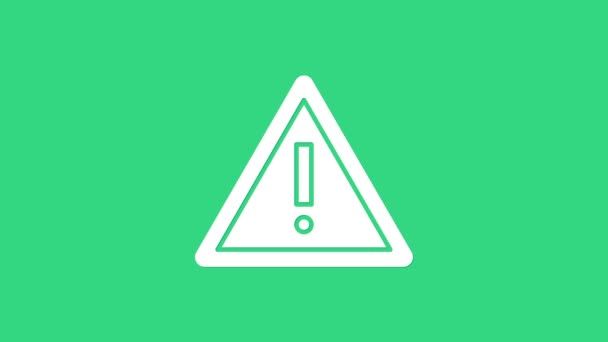 White Exclamation mark in triangle icon isolated on green background. Hazard warning sign, careful, attention, danger warning important sign. 4K Video motion graphic animation