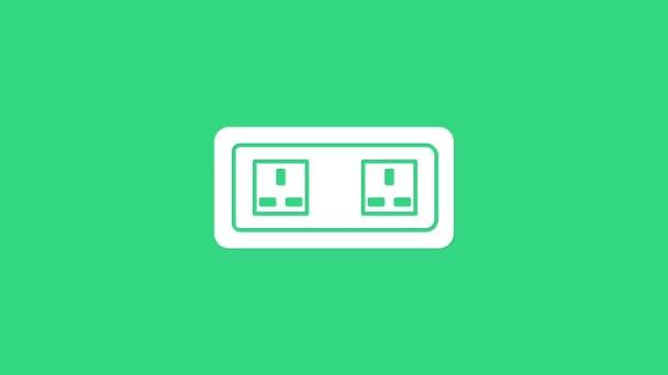 Fehér Elektromos kimenet ikon elszigetelt zöld háttérrel. A konnektor. Rosette szimbólum. 4K Videó mozgás grafikus animáció
