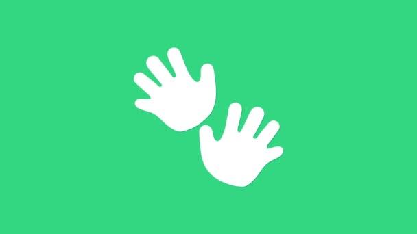 Fehér Baba kéz nyomtat ikon elszigetelt zöld háttérrel. 4K Videó mozgás grafikus animáció