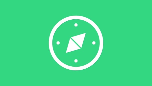 White Compass icon isolated on green background. Windrose navigation symbol. Wind rose sign. 4K Video motion graphic animation