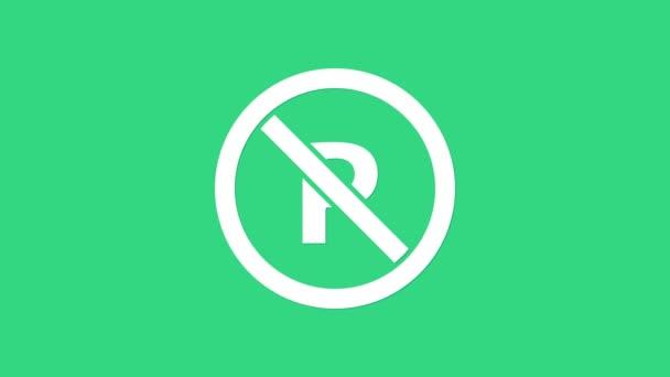 Bílá bez parkování nebo zastavení ikona izolované na zeleném pozadí. Pouliční značka. Grafická animace pohybu videa 4K