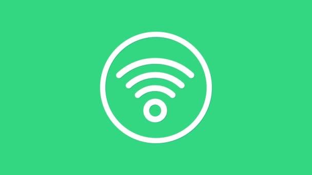 Weißes Symbol des drahtlosen Internet-Netzwerks Wi-Fi isoliert auf grünem Hintergrund. 4K Video Motion Grafik Animation