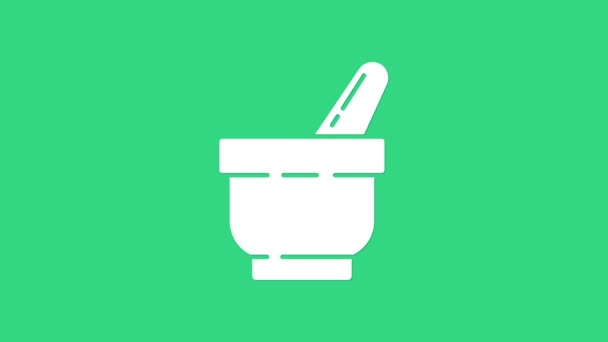White Mortar and pestle icon isolated on green background. 4K Video motion graphic animation