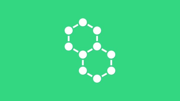 White Molecule icon isolated on green background. Structure of molecules in chemistry, science teachers innovative educational poster. 4K Video motion graphic animation