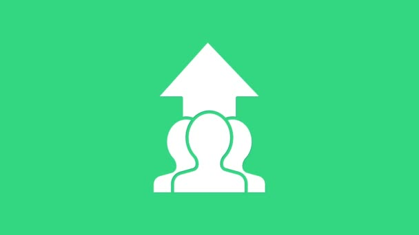 White Growth chart and progress in people crowd icon isolated on green background. Arrow finance up. Businessman of success. 4K Video motion graphic animation