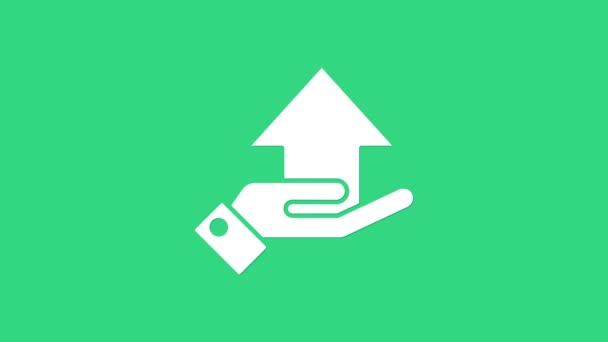 White Money on hand icon isolated on green background. Palm holds cash with arrow up. Cash salary increase. Rising prices. 4K Video motion graphic animation