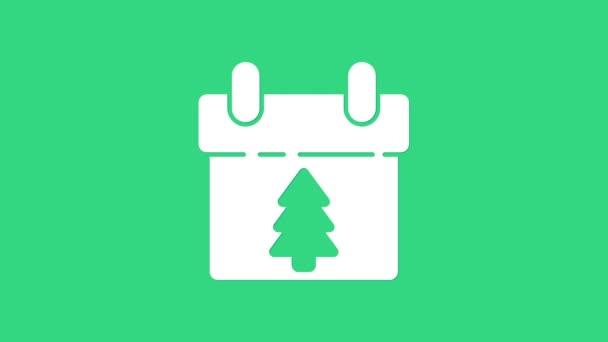 Fehér Naptár ikon elszigetelt zöld háttérrel. Eseményemlékeztető szimbólum. Boldog karácsonyt és boldog új évet! 4K Videó mozgás grafikus animáció