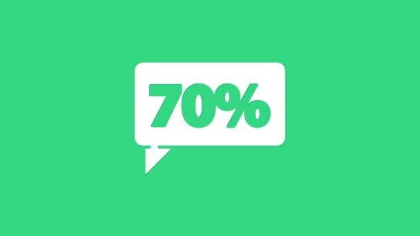 Weißes Siebzig-Prozent-Rabattsymbol auf grünem Hintergrund. Das Schild mit dem Shopping-Tag. Sonderangebotsschild. Rabattgutscheine. 4K Video Motion Grafik Animation