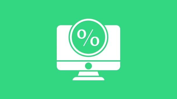 White Procent symbol sleva a monitor ikona izolované na zeleném pozadí. Procento prodeje - cenovka, značka. Grafická animace pohybu videa 4K