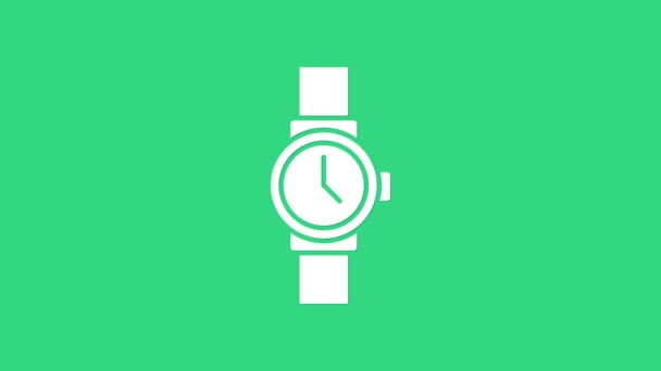 White Wrist watch icon isolated on green background. Wristwatch icon. 4K Video motion graphic animation