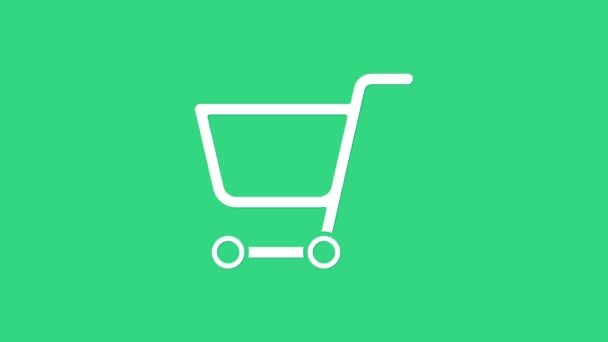 White Shopping cart icon isolated on green background. Online buying concept. Delivery service sign. Supermarket basket symbol. 4K Video motion graphic animation
