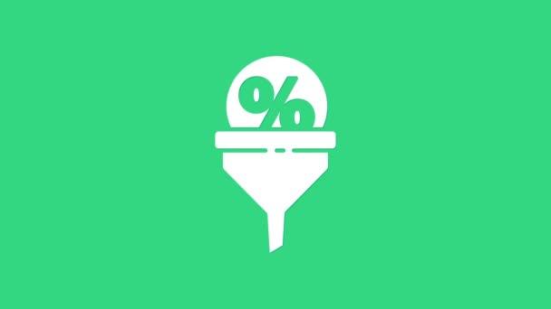 White Lead management ikona izolované na zeleném pozadí. Nálevka se slevou. Cílový obchodní koncept klienta. Grafická animace pohybu videa 4K