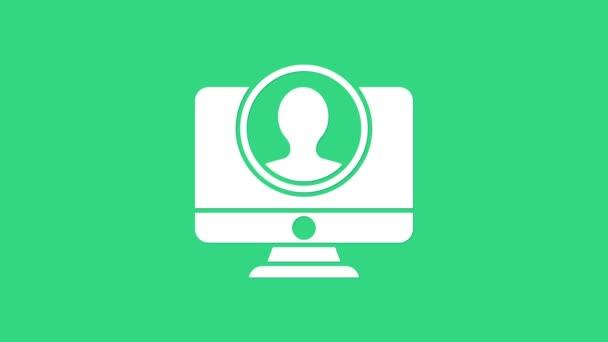 White Create account screen icon isoliert auf grünem Hintergrund. 4K Video Motion Grafik Animation