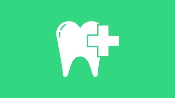 White Dental clinic for dental care tooth icon isolated on green background. 4K Video motion graphic animation