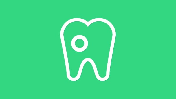White Tooth with caries icon isolated on green background. Tooth decay. 4K Video motion graphic animation