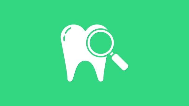 White Dental Suchsymbol isoliert auf grünem Hintergrund. Zahnsymbol für Zahnklinik oder Zahnarztpraxis. 4K Video Motion Grafik Animation