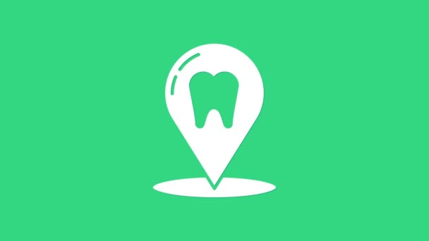 White Dental clinic location icon isolated on green background. 4K Video motion graphic animation
