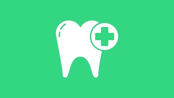 White Tooth Symbol isoliert auf grünem Hintergrund. Zahnsymbol für Zahnklinik oder Zahnarztpraxis und Zahnpasta-Packung. 4K Video Motion Grafik Animation