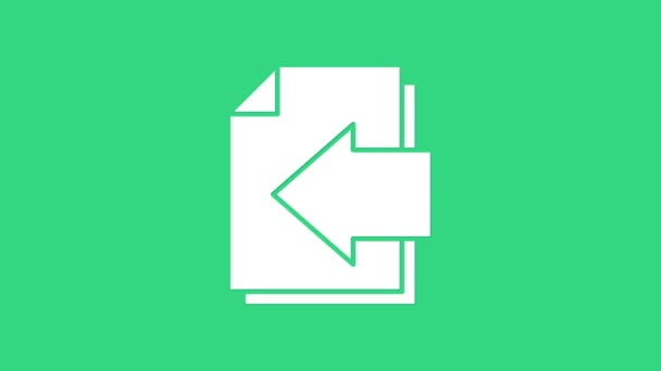 White Next page arrow icon isolated on green background. Document file with arrow. Send document. 4K Video motion graphic animation