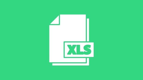 White XLS file document. Download xls button icon isolated on green background. Excel file symbol. 4K Video motion graphic animation