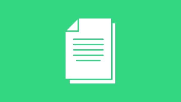 Weißes Dokument-Symbol isoliert auf grünem Hintergrund. Datei-Symbol. Checklisten-Symbol. Geschäftskonzept. 4K Video Motion Grafik Animation