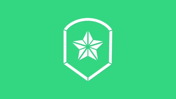 Fehér Rendőrség jelvény ikon elszigetelt zöld alapon. Seriff jelvény. Pajzs csillag szimbólummal. 4K Videó mozgás grafikus animáció