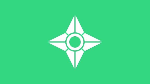 Bílé japonské ninja Shuriken ikona izolované na zeleném pozadí. Grafická animace pohybu videa 4K