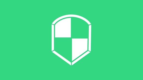 Fehér Pajzs ikon elszigetelt zöld alapon. Őrség jel. Biztonság, biztonság, védelem, adatvédelem. 4K Videó mozgás grafikus animáció