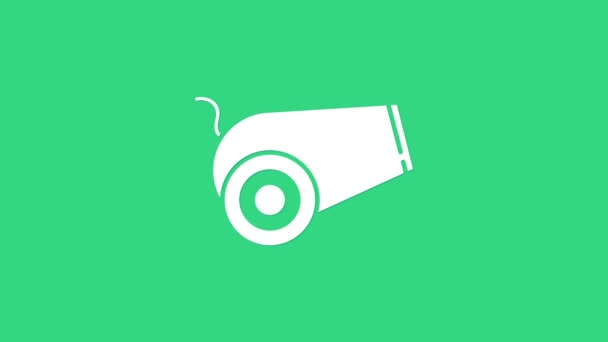 White Cannon icon isolated on green background. Medieval weapons. 4K Video motion graphic animation