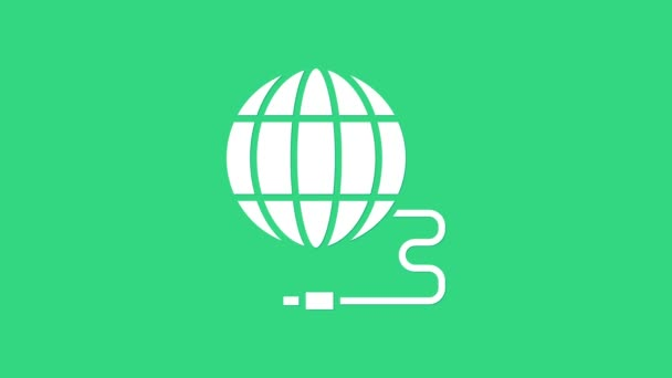 White Global Technologie oder soziales Netzwerk Ikone isoliert auf grünem Hintergrund. 4K Video Motion Grafik Animation