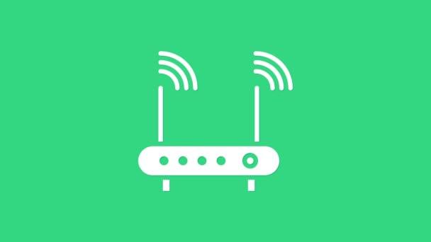 Weißer Router und Symbol für das WLAN-Signal isoliert auf grünem Hintergrund. Wireless Ethernet Modem Router. Computertechnologie Internet. 4K Video Motion Grafik Animation