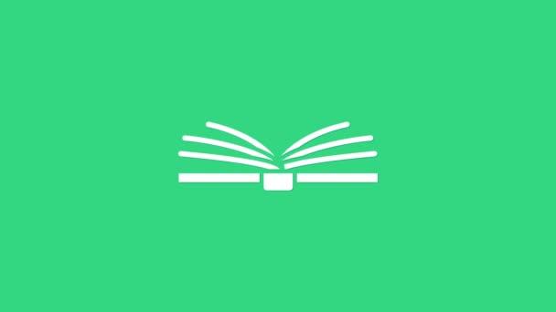 Bílá Otevřít ikonu knihy izolované na zeleném pozadí. Grafická animace pohybu videa 4K