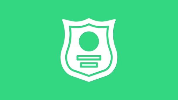 Fehér Rendőrség jelvény ikon elszigetelt zöld alapon. Seriff jelvény. 4K Videó mozgás grafikus animáció