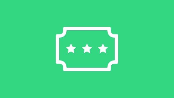 Fehér jegy ikon elszigetelt zöld alapon. Vidámpark. 4K Videó mozgás grafikus animáció