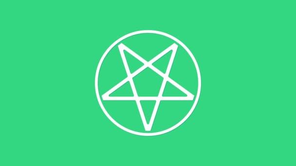 Fehér Pentagram egy kör ikon elszigetelt zöld alapon. Varázslatos okkult csillag szimbólum. 4K Videó mozgás grafikus animáció
