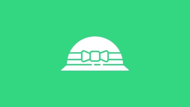 Weiß Elegante Frauen Hut Symbol isoliert auf grünem Hintergrund. 8. März. Internationaler glücklicher Frauentag. 4K Video Motion Grafik Animation