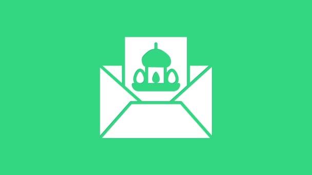 Weiße Grußkarte mit Frohe Ostern Symbol isoliert auf grünem Hintergrund. Festplakatvorlage für Einladung oder Grußkarte. 4K Video Motion Grafik Animation
