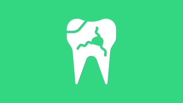 White Broken Zahn Symbol isoliert auf grünem Hintergrund. Zahnproblem-Ikone. Zahnpflege-Symbol. 4K Video Motion Grafik Animation