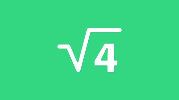 Weiße quadratische Wurzel mit 4 Symbolen auf grünem Hintergrund. Mathematischer Ausdruck. 4K Video Motion Grafik Animation