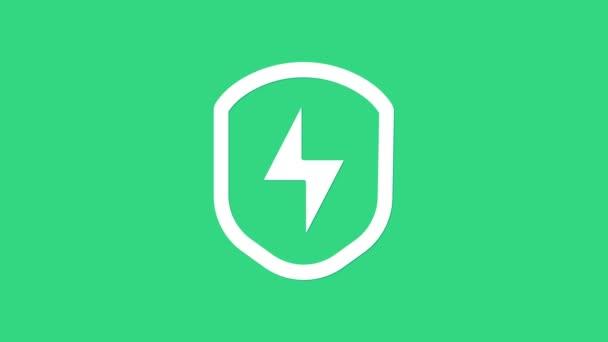 White Secure Shield mit Blitz-Symbol isoliert auf grünem Hintergrund. Sicherheit, Sicherheit, Schutz, Privatsphäre. 4K Video Motion Grafik Animation