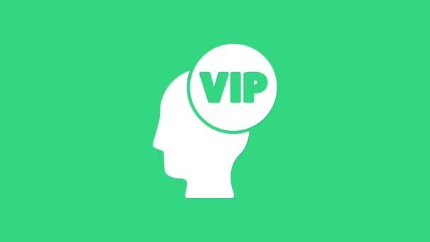Bílý Vip uvnitř lidské hlavy ikony izolované na zeleném pozadí. Grafická animace pohybu videa 4K