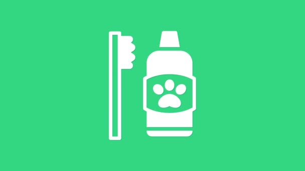 White Dental hygiene for pets icon isolated on green background. Toothbrush and toothpaste. Teeth cleaning. 4K Video motion graphic animation