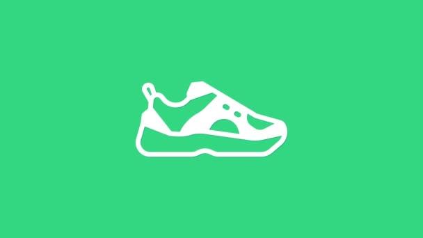 Weiße Fitness Turnschuhe für das Training, Laufsymbol isoliert auf grünem Hintergrund. Sportschuhe. 4K Video Motion Grafik Animation