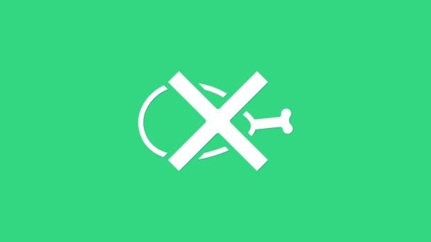 Bílá Ikona bez masa izolovaná na zeleném pozadí. Nedovolené rychlé občerstvení - vegetariánské jídlo. Grafická animace pohybu videa 4K
